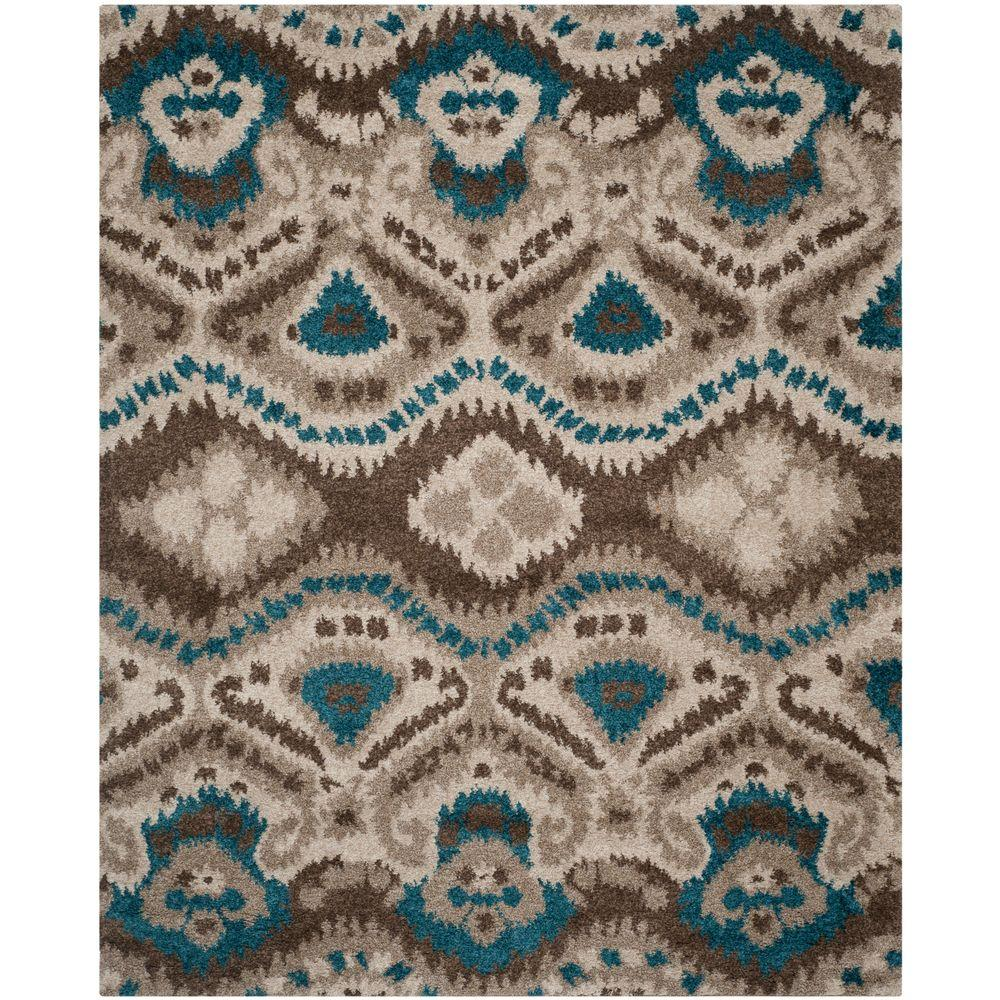 Safavieh Tibetan Shag Brown Turquoise 8 Ft X 10 Ft Area