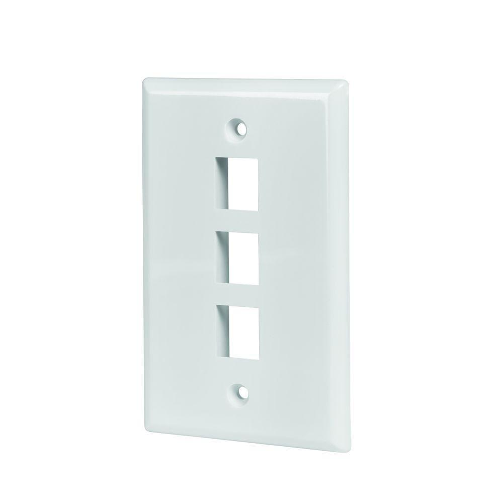 5 Pack Lot Keystone 2 Hole Port Jack Wall Face Plate Network CAT5e CAT6 White
