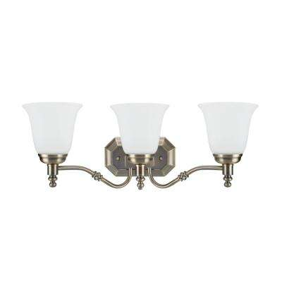 3-Light Antique Brass Vanity Light with Frosted Glass Shade