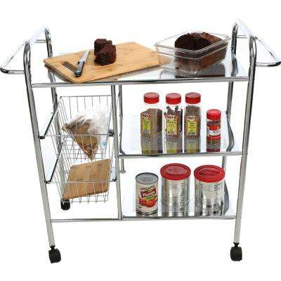 3-Tier Metal 4 -Wheeled Utility Cart with 2 Wire Baskets in Silver