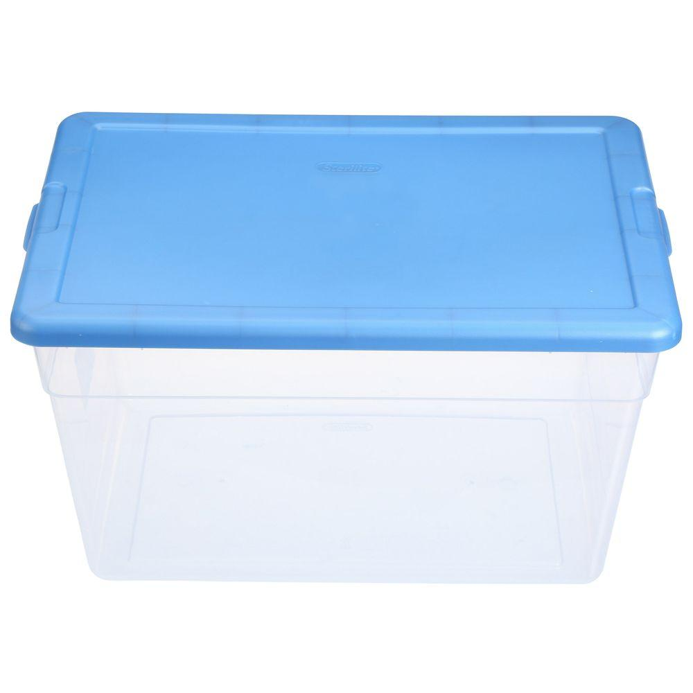Sterilite 56 Qt Storage Box In Blue And Clear Plastic