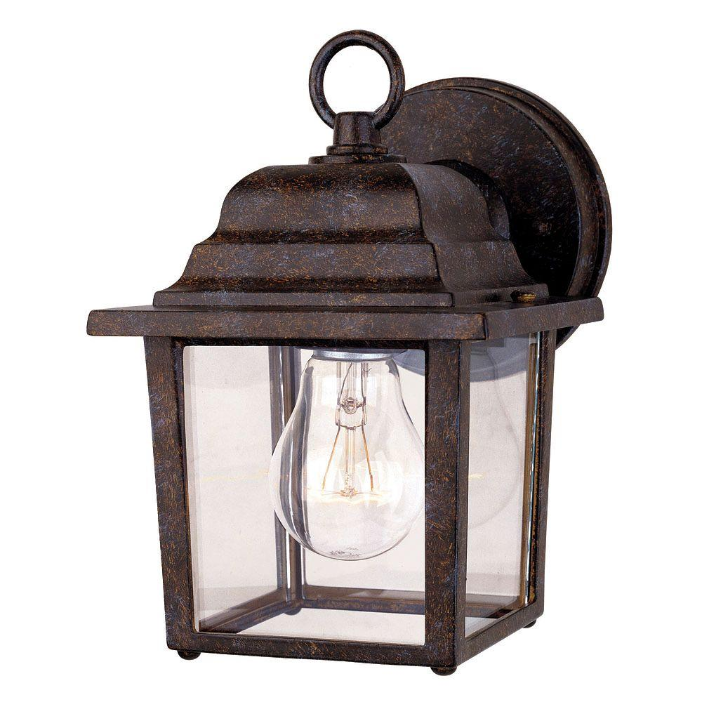 1-Light Wall Mount Lantern Rustic Bronze Finish Clear Glass
