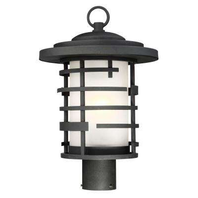 1-Light Outdoor Textured Black Post Lantern with Etched Glass