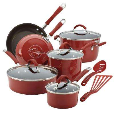 Cucina 12-Piece Cranberry Red Cookware Set with Lids