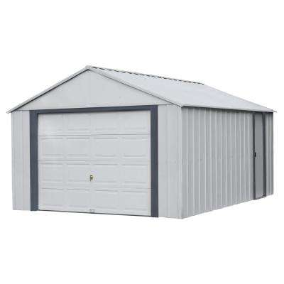 Murry hill 12 ft. W x 17 ft. D 2-Tone Gray Steel Garage and Storage Building with Side Door and High-Gable Roof