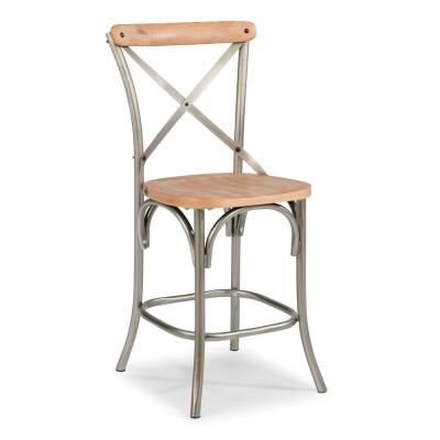 French Quarter 24 in. Aged White Wash Natural Bar Stool