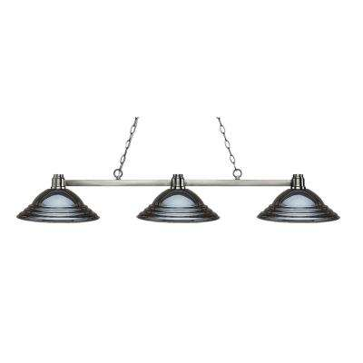 Peak 3 Light Brushed Nickel Billiard Light With Gun Metal Steel Shade