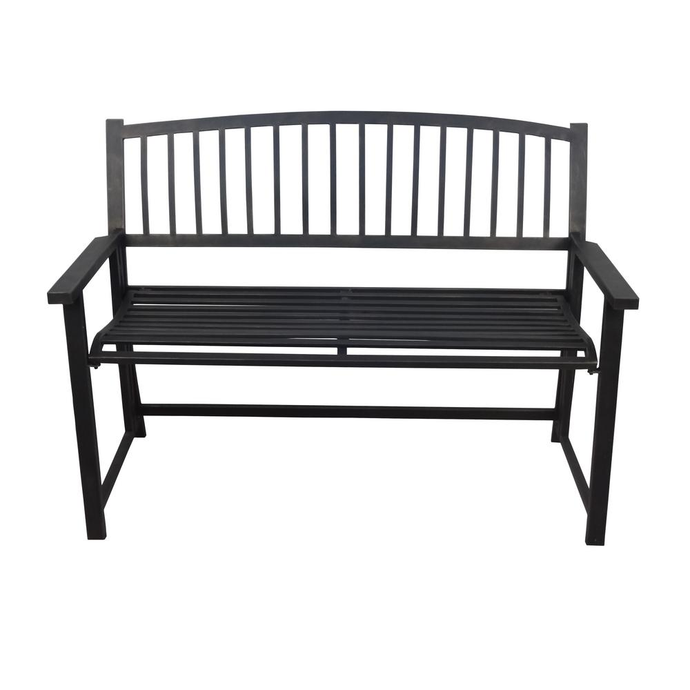 Crawford Burke Nolin 46 In Black Metal Folding Outdoor Bench 090232 The Home Depot