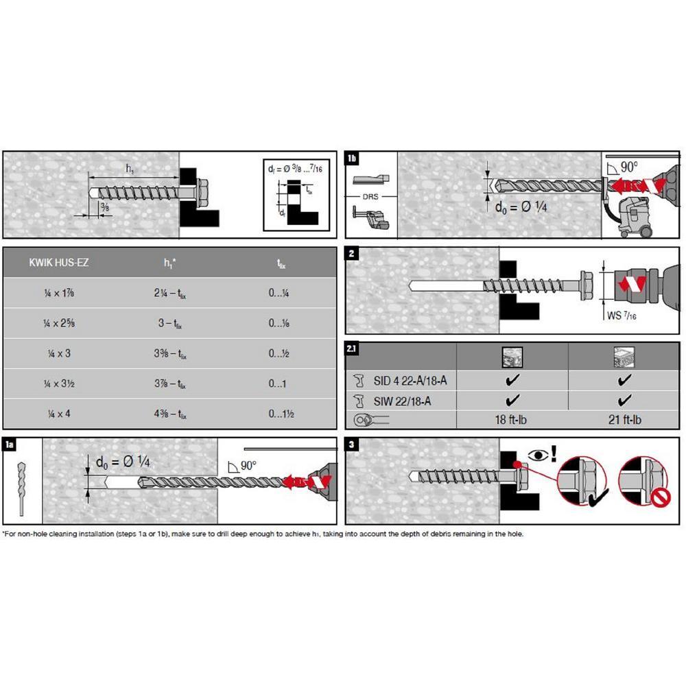 Hilti 418071 1//2-Inch x 3-Inch Kwik Hus-EZ Concrete and Masonry Screw Anchor 30-Pack