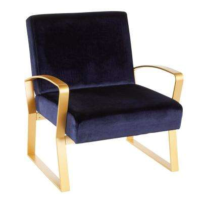 Henley Gold and Blue Velvet Lounge Chair