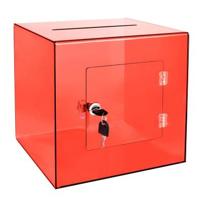 10 in. x 10 in. x 10 in. Acrylic Suggestion Donation Box with Easy Open Rear Door, Crystal Red