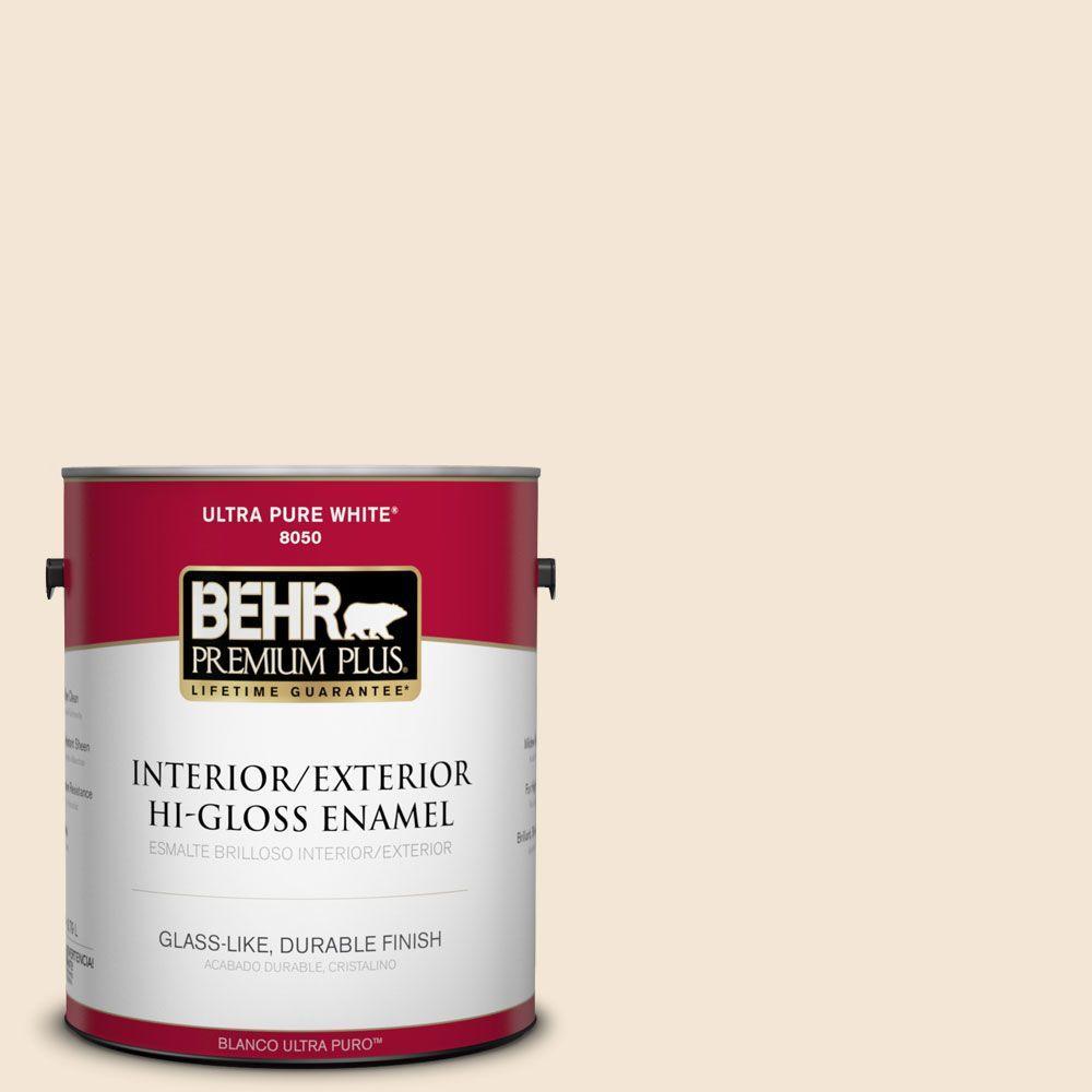 BEHR Premium Plus 1-gal. #S290-1 Vanilla Paste Hi-Gloss Enamel Interior/Exterior Paint