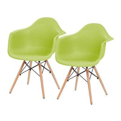 Green Plastic Shell Chair with Arm Rest (Set of 2)