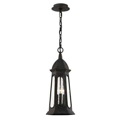 Astor Vintage Iron 3-Light 9 in. W Outdoor Hanging Light with Clear Seeded Glass