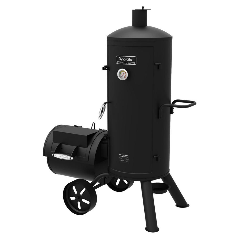 Dyna-Glo Signature Heavy-Duty Vertical Offset Charcoal Smoker and Grill in Black