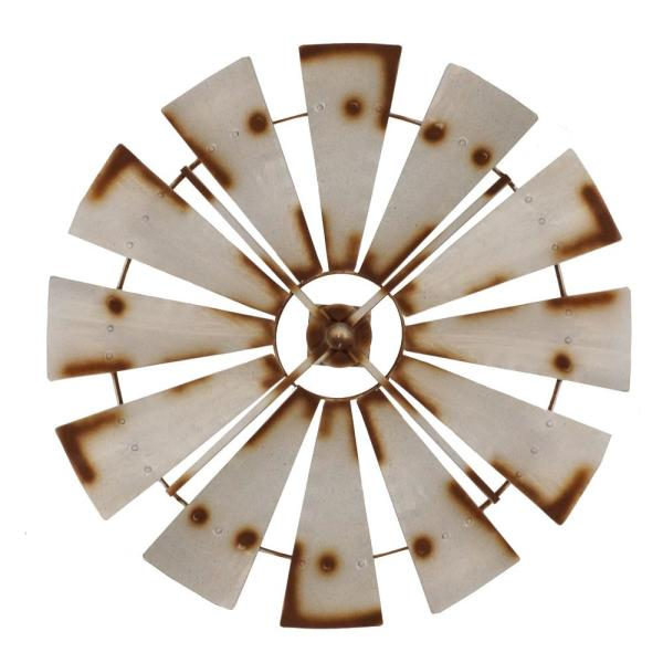 01c81bc4bb Metal Silver Rust Round Windmill Wall Decor FH1057 - The Home Depot