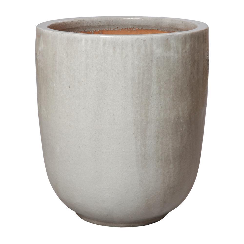 27 in. Round Gray Ceramic Planter