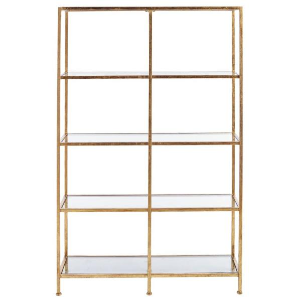 62 in. Gold Metal 4-shelf Accent Bookcase with Open Back