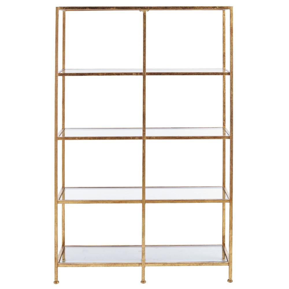 acme bookcase blanrio glass gold etagere clear p and bookcases furniture