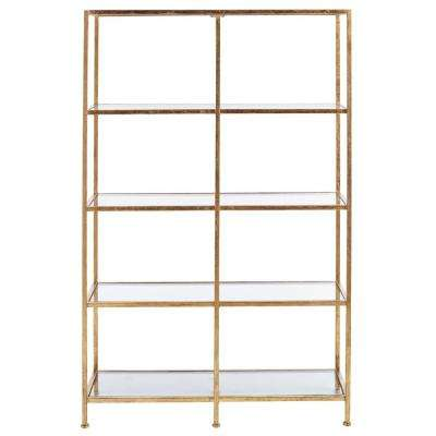 Bella Aged 40 in. Wide Gold Glass Bookcase