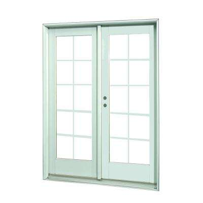 72 in. x 80 in. White 10-Lite Prehung Right-Hand Inswing Grille Patio Door