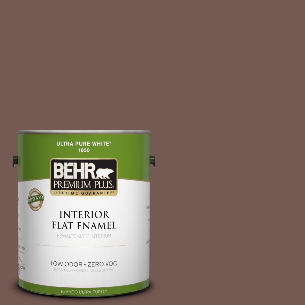 BEHR Premium Plus 1-gal. #220F-7 Yorkshire Brown Zero VOC Flat Enamel Interior Paint-DISCONTINUED