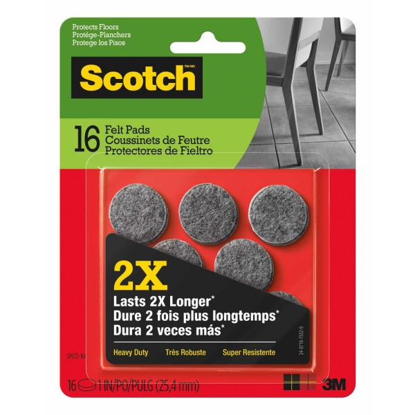 Scotch 1 in. Gray Round Heavy Duty Surface Protection Felt Floor Pads (16-Pack)