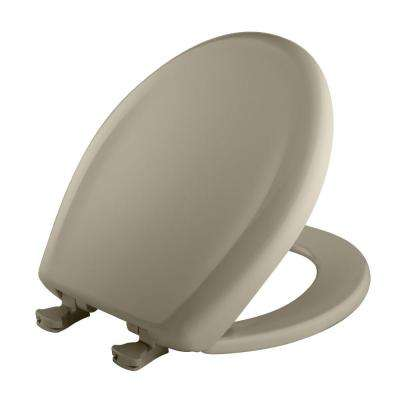Slow Close STA-TITE Round Closed Front Toilet Seat in Tender Grey