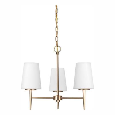Driscoll 3-Light Satin Bronze Chandelier with LED Bulbs