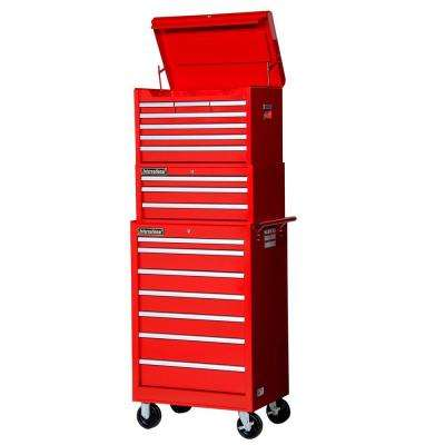Tech Series 27 in. 17-Drawer Tool Chest and Cabinet Combo in Red