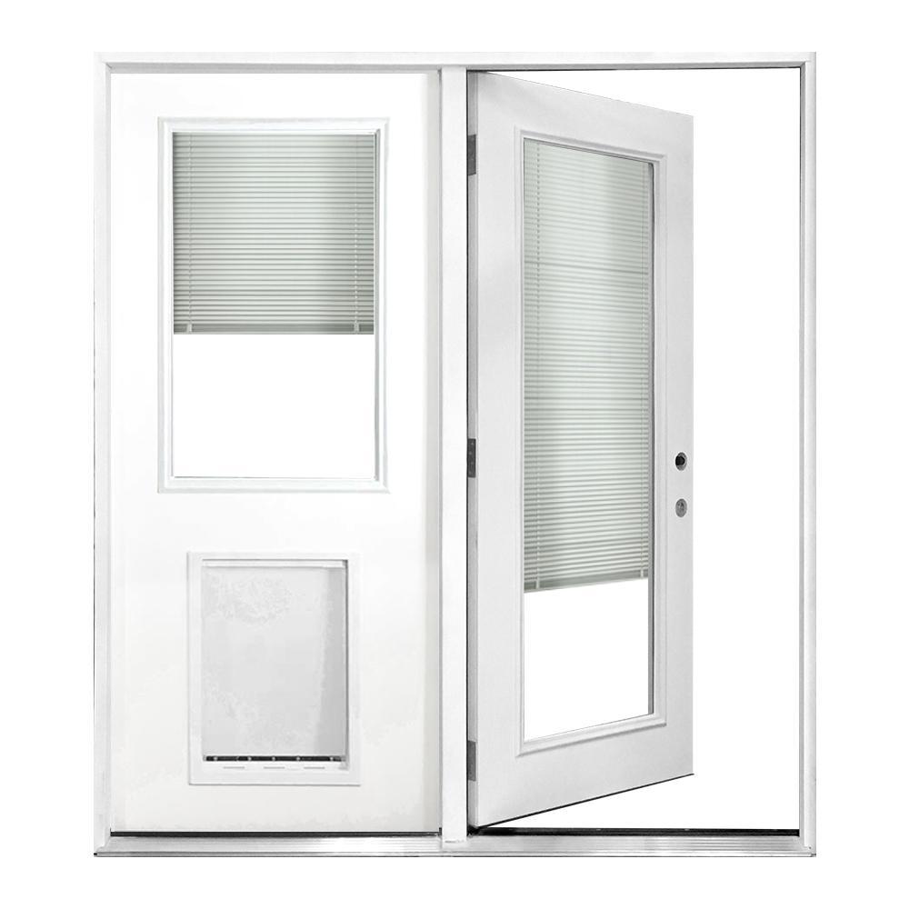 60 in. x 80 in. Mini-Blind Primed White Prehung Left-Hand Inswing Fiberglass Center Hinge Patio Door with SL Pet Door