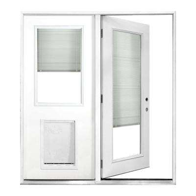 72 in. x 80 in. Mini-Blind Primed White Prehung Left-Hand Inswing Fiberglass Center Hinge Patio Door with SL Pet Door