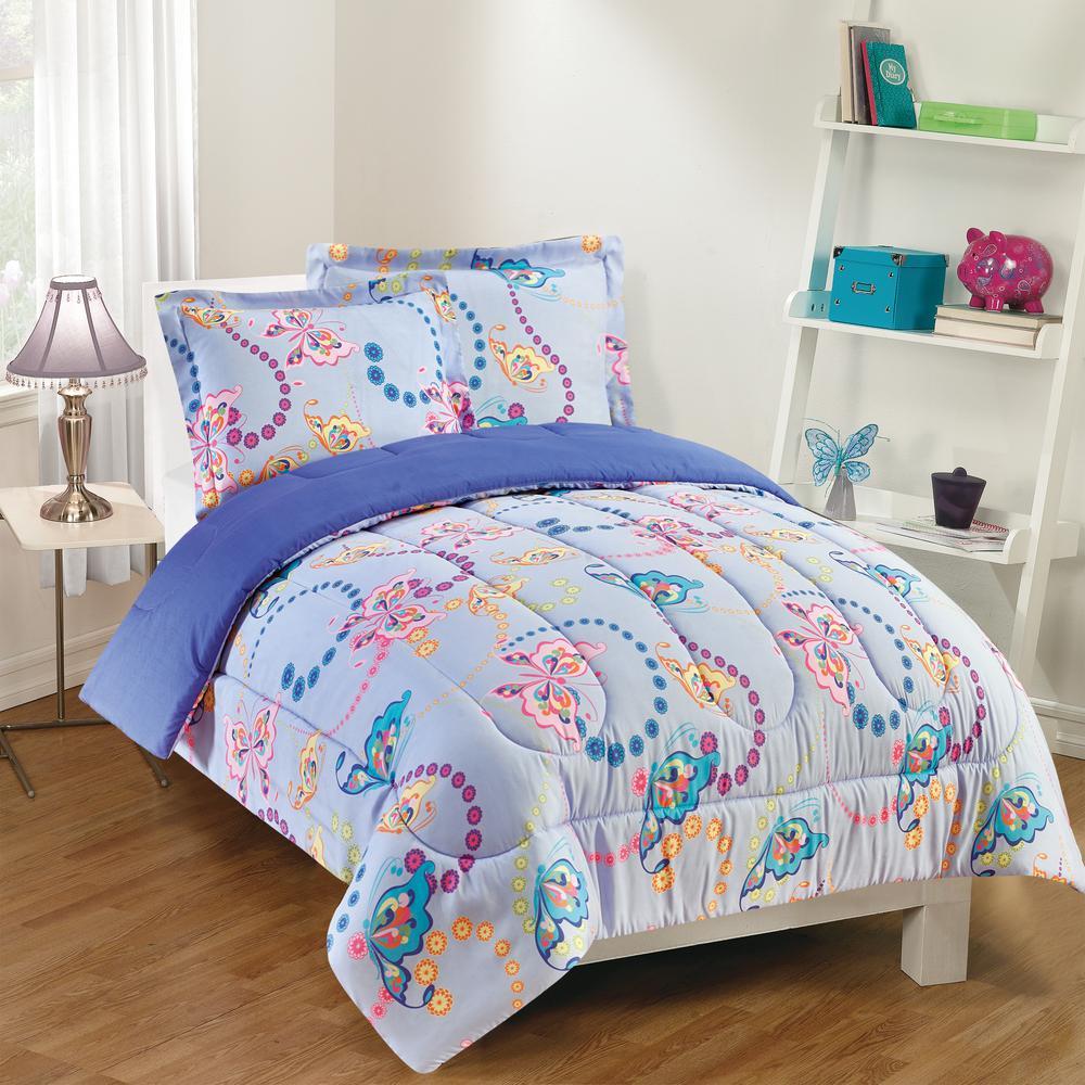Flutter 3-Piece Lavender Full Comforter Set