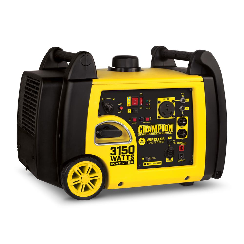 3150-Watt Gasoline Powered Wireless Remote Start Inverter Generator with