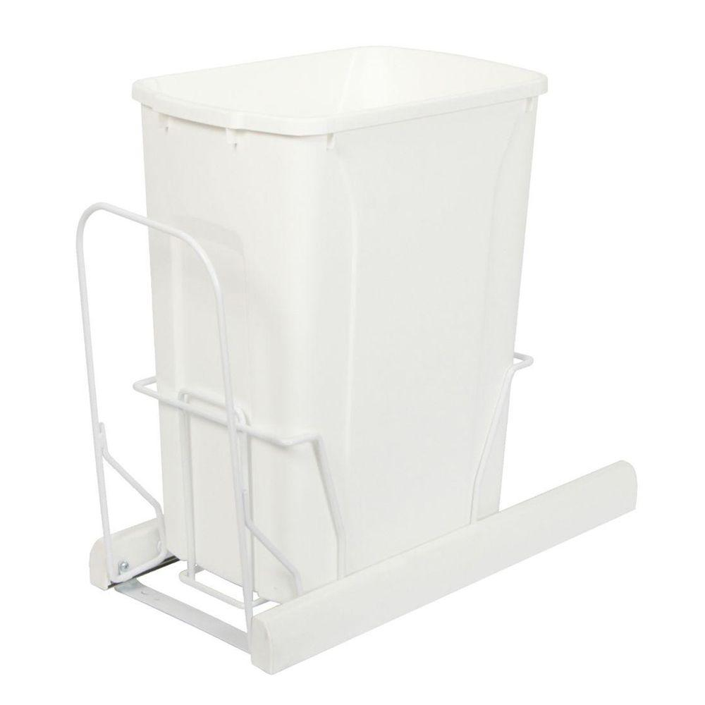 Knape & Vogt 18.81 in. x 9.75 in. x 20.13 in. In Cabinet Pull Out Bottom Mount Soft Close Trash Can