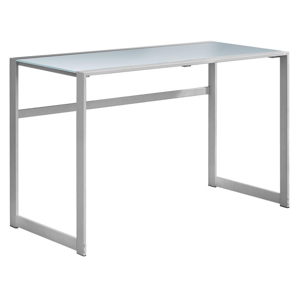 Jasmine 1-Piece Silver and White Computer Desk