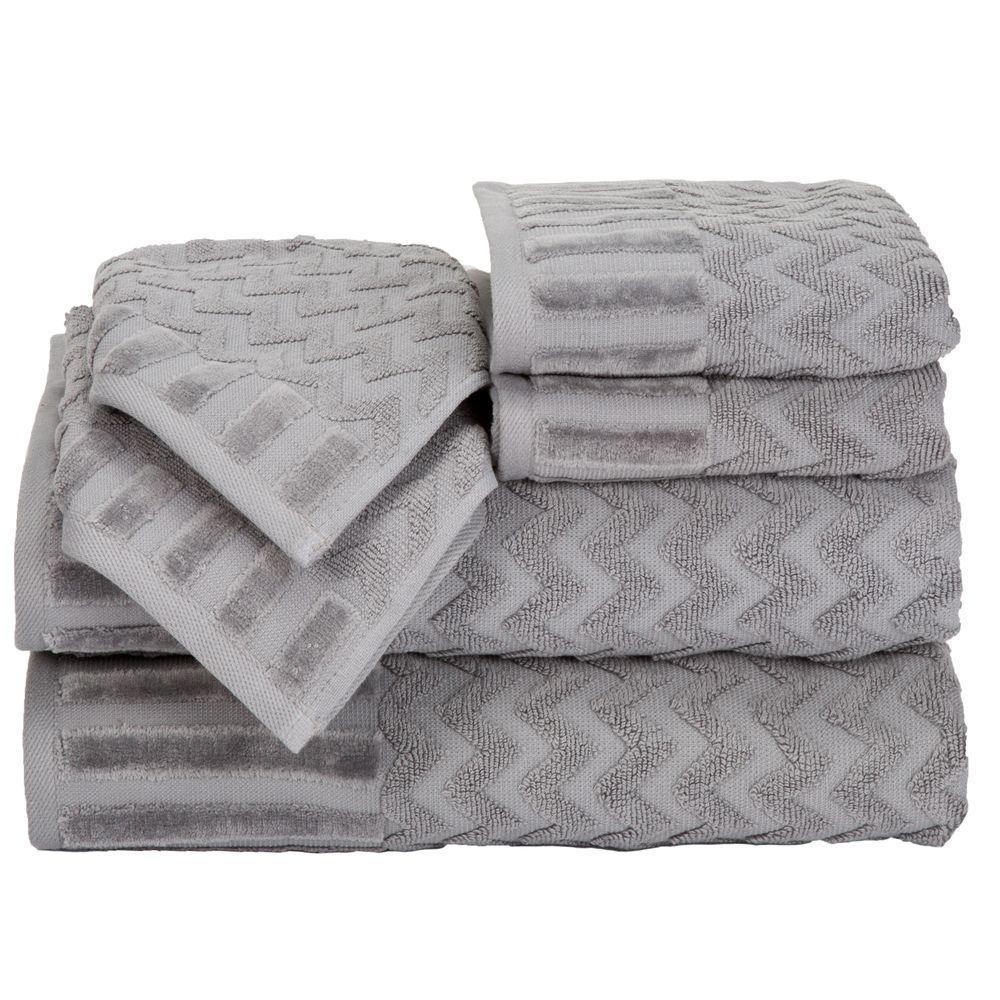 6piece chevron egyptian cotton towel set in silver - Egyptian Cotton Towels