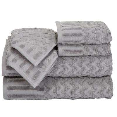 Chevron Egyptian Cotton Towel Set in Silver (6-Piece)