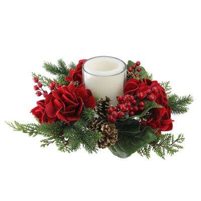15 in. Artificial Mixed Pine and Red Hydrangea Decorative Wreath Pillar Candle Holder