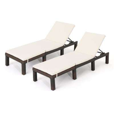 Carmelo Multibrown 2-Piece Wicker Outdoor Chaise Lounge with Cream Cushion