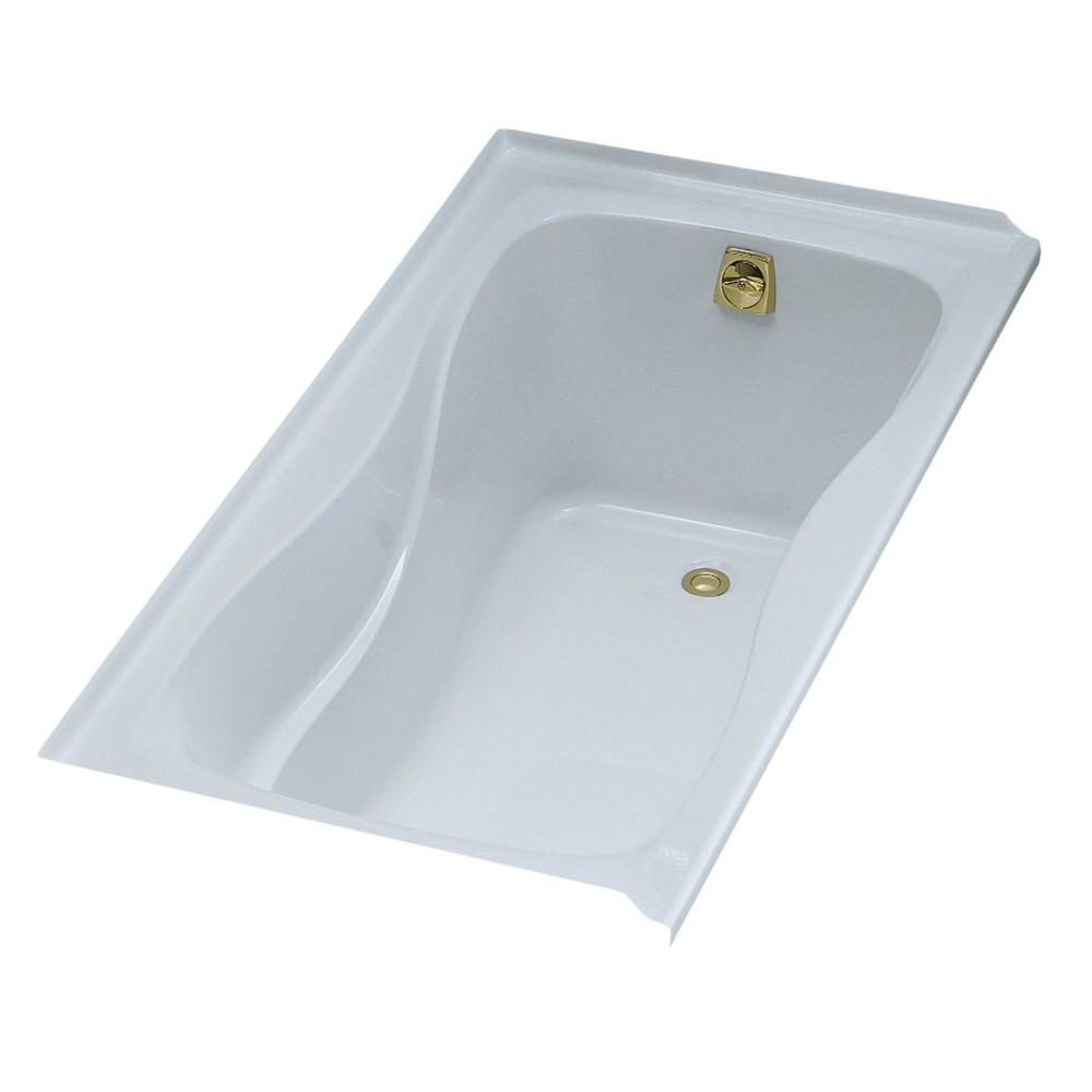 KOHLER Hourglass 5 ft. Alcove Bath with Right-Hand Drain in White-K ...
