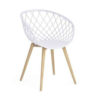 Kurv White Arm Chair with Natural Wood Legs (Set of 2)