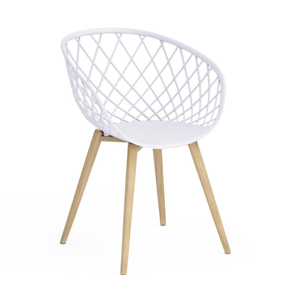 Jamesdar Kurv White Arm Chair With Natural Wood Legs Set Of 4