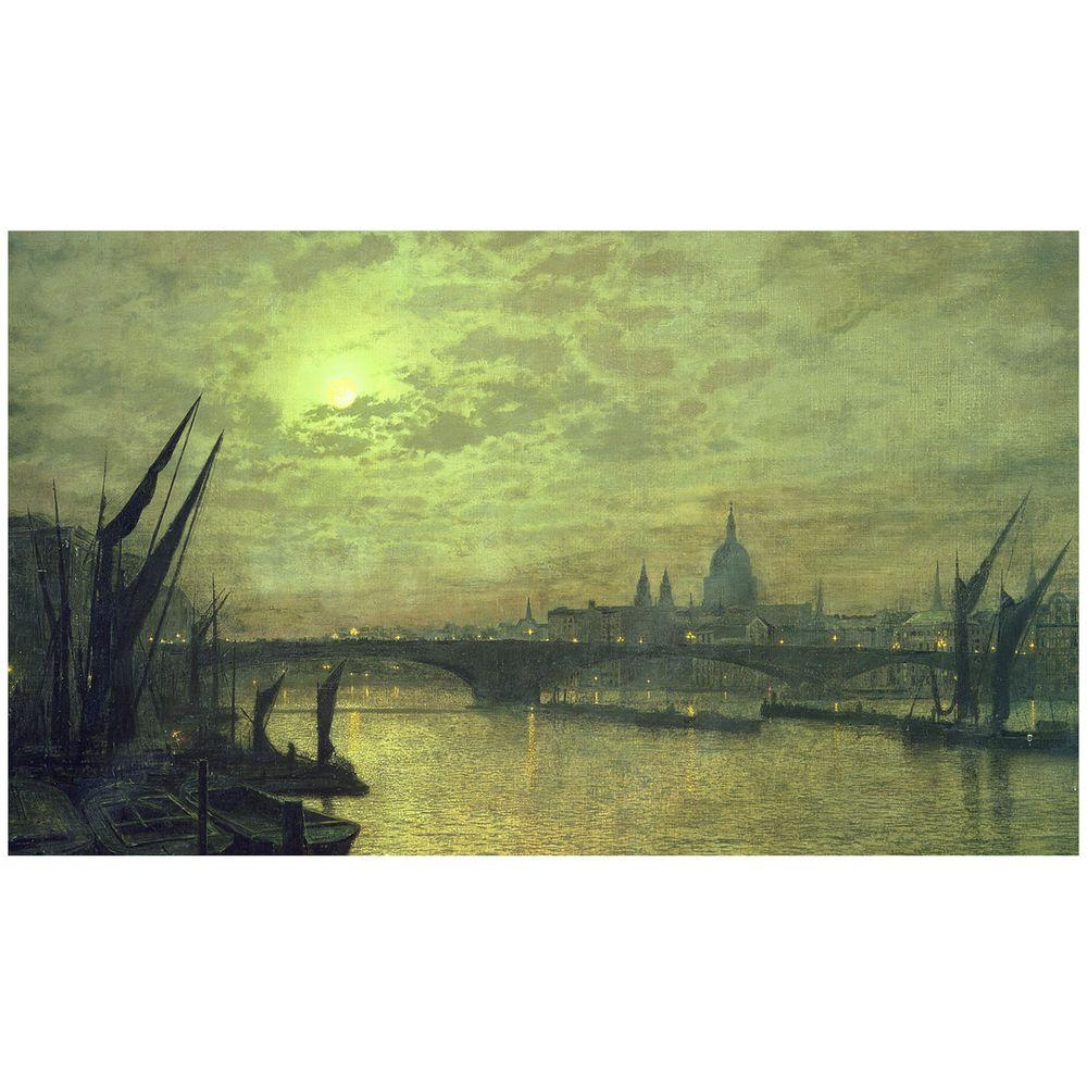 Trademark Fine Art 18 in. x 32 in. The Thames by Moonlight 1884 Canvas Art