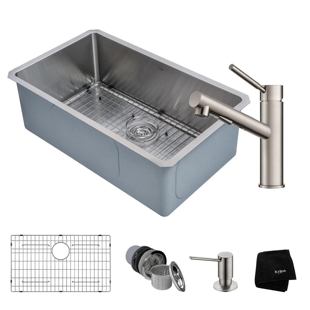 KRAUS Standart PRO Undermount Stainless Steel 28 in. Single Bowl ...