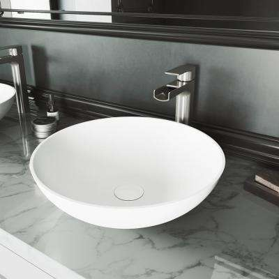 Lotus Matte Stone Vessel Bathroom Sink in White with Amada Faucet in Brushed Nickel