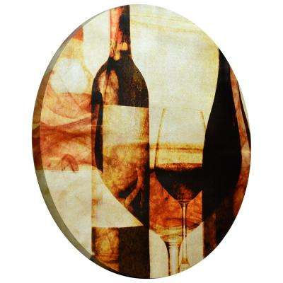 """After the Wine"" Circular silver canvas Giclee printed on 2 in.  Wood Stretcher Wall Art"