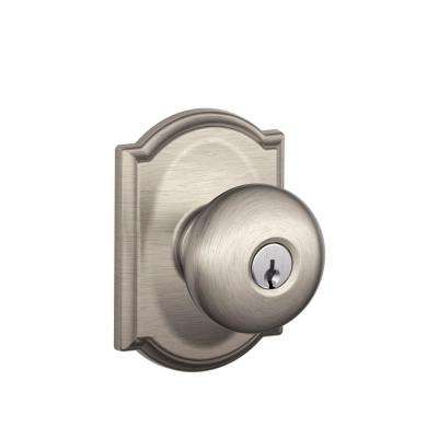 Plymouth Satin Nickel Keyed Entry Door Knob with Camelot Trim