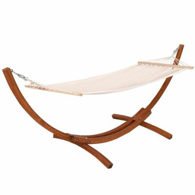 11.8 ft. x 4.2 ft. x 4.3 ft. Wooden Curved Arc Hammock Stand with Cotton Garden Outdoor