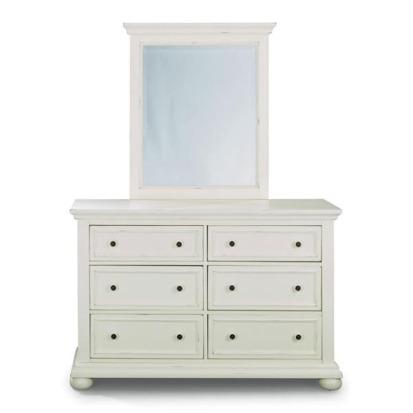 Home Styles Dover 6-Drawer White Dresser with Mirror